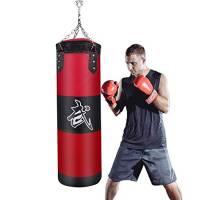Sacco da Boxe Pieno 100 cm-JanTeelGO UNFILLED Sacchi da Boxe Autoportante con gancio da soffitto a catena Sacco pesante per grappling   MMA   Kickboxing   Muay Thai   BJJ   Karatè