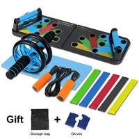 Aurorast Fitness Workout Set 4 Pezzi- Elastici Fitness | Push-up Board 13 in 1| AB Wheel Roller Addominali con Tappetino | Corda per Saltare, Attrezzi Palestra per casa