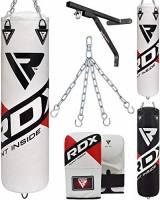RDX Sacco da Boxe Non Riempito Arti Marziali MMA Sacchi Pugilato Kick Boxing Muay Thai con Guantoni Allenamento Catena Supporto Muro 4PC Punching Bag Set 4FT 5FT