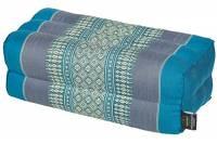 Cuscino per la meditazione yoga 35x15x10 cm, imbottitura Kapok, design tradizionale Thai celeste