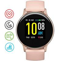 Smartwatch Orologio Fitness Donna, UMIDIGI Uwatch 2S Fitness Tracker Bluetooth Smart Watch Impermeabile 5ATM Cardiofrequenzimetro da Polso Contapassi Sportivo Activity Tracker per Android iOS-Oro Rosa
