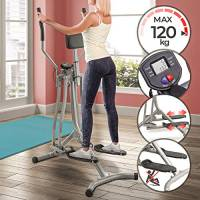 Physionics® Cross Trainer - con Display LCD, Carico Massimo 120 kg, Sensore di Frequenza Cardiaca e Supporto Addominale, Acciaio - Air Walker, Stepper con Manubrio