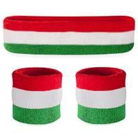 Suddora, set con fascia e bracciali parasudore, per lo sport, Uomo, Red White Green