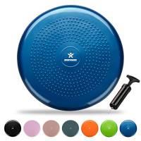 BODYMATE Cuscino propriocettivo Gonfiabile per Equilibrio comprensivo di Pompa Blu Diametro 34cm