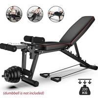 YLAN Multifunzione Panca Fitness Panchina Peso con Leg Extension e Leg Curl per Uomini E Donne, Portata Fino A 200kg, Antiscivolo