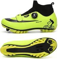 JINFAN Scarpe da Ciclismo MTB da Uomo,Scarpe da Mountain Bike con Serrature Scarpe per Sport Invernali da Uomo E da Donna/Suole in Nylon,Green-EU38