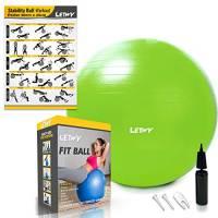 LETWY Palla Fitness | 65 cm, Verde | Nuova Versione 2020 con Poster Esercizi-Ginnastica, Fitball Fit Balls, Gymball Pilates, Yoga, Gravidanza, Attrezzi Palestra Casa
