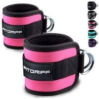 Fitgriff® - Cavigliere Cavi Palestra V1 (Imbottito) Ankle Straps (2 Pezzi) - Donna & Uomo - Cinghie per Caviglia - Pink