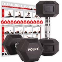 POWRX - Manubri Pesi esagonali gommati 10 kg Set (2 x 5 kg)
