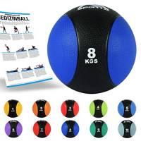 MSPORTS Palla Medica Premium 8 kg   Qualita Studio Professionale   per Palestra, Allenamento Fitness, Body Building, Fisioterapia, Riabilitazione   Blu Marino