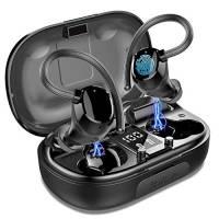 Cuffie Bluetooth Sports, Auricolari Bluetooth 5.0 Senza Fili, in Ear IP7 Impermeabile Hi-Fi Stereo con Microfono, 100H Riproduzione Auricolari Wireless con Display LED per in Correre Workout, Gym