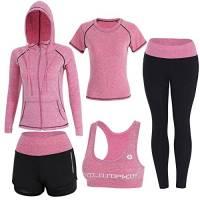 BOTRE 5 Pezzi Tute da Ginnastica Donna Tute Sportive Yoga Fitness Palestra Running Jogging Completi Sportivi Abbigliamento (Rosa, L)