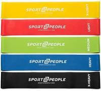 Sport2People Set elastici fitness con 2 e-book per workout – Fasce elastiche fitness per glutei – fianchi e gambe – Bande elastiche resistenza – Attrezzi palestra per casa