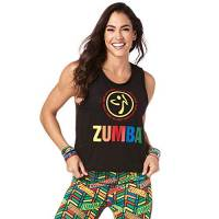 Zumba Fitness Aktiv Burnout Dance Workout Kleidung Damen Fitness-Tanktop mit Grafikdruck Carro Armato, Bold Zumba Black, Medium Donna