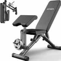 Panca Peso con Leg Extension Leg Curl e, Pieghevole versatilità banco di Allenamento Completamente Regolabile Peso Attrezzatura di addestramento, Piedini Antiscivolo