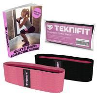 Teknifit Booty Builder | Elastico Fitness per Glutei Banda di Resistenza per esercizi di Tonificazione e Brucia grassi | Fascia elastica Antiscivolo per Donna | Per Gambe e Glutei perfetti (Rosa, S/M)