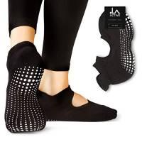 LA Active Calze Presa Antiscivolo Cotone – Per Yoga Pilates Danza Sbarra - Ballet (Noire Black, 34-36.5 EU)