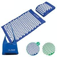 JAADOO - Tappetino per agopressione, compatto, con cuscino per agopressione e borsa, colore blu