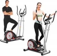 ANCHEER Macchina Ellittica Fitness Machine Cyclette Ellittica con 8 Livelli di Resistenza/Display LCD/Porta Tablet/Maniglia per Test della frequenza cardiaca/Carico Massimo: 265Ibs Nero