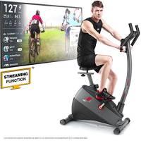 """Sportstech Ergometro ESX500 Marchio di qualità Tedesco- Eventi Video e Multiplayer App+5,5"""" Display, Volano da 12KG, Compatibile Cintura pulsazioni -Cyclette silenziosa"""
