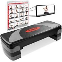 POWRX Step fitness/aerobica XL (80 x 30 cm) - Stepper ideale per esercizi in casa e palestra - Altezza regolabile e superficie antiscivolo + PDF workout (Nero/Grigio)