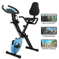 Profun Esercizio di Bicicletta Fitness Bici Spinning Bike Cyclette per Casa 2 in 1, Cyclette con Resistenza Magnetica Regolabile a 10 Livelli e Fasce da Allenamento, Indoor Cycling Bike con App (Blu)