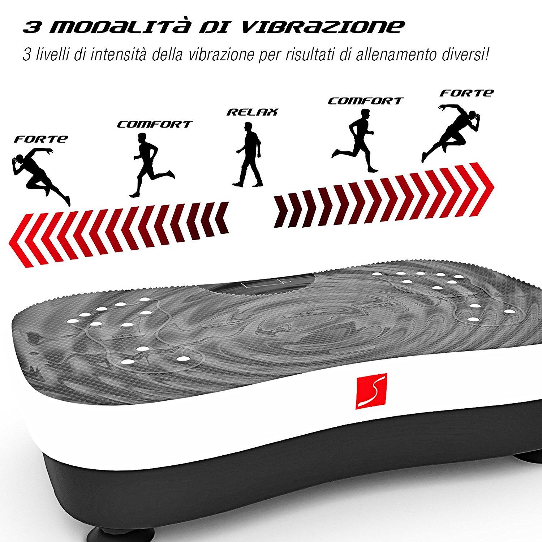 Sportstech Pedana vibrante VP210 con Bluetooth, tecnologia innovativa di oscillazione e vibrazione, funzione di riflessologia plantare magnetica, elastici, telecomando e altoparlante nel dispositivo