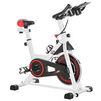 homcom Cyclette Professionale, Cyclette da Camera Regolabile con Schermo LCD e Portabicchieri, Volano 8kg, Bianco