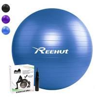 REEHUT Palla da Ginnastica Resistente Fino a 498kg Anti-Scoppio con Pompa per Fitness, Allenamento, Yoga e Pilates - 65CM, Blu
