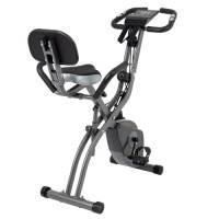 Bicicletta pieghevole con resistenza magnetica regolabile a 10 livelli. La cyclette pieghevole verticale e reclinata è la bici da allenamento perfetta per uso domestico per uomini e donne. (Grigio)