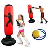 Sacco da Boxe Gonfiabile 160cm, Sacco da Boxe da Terra per Adulti Bambini, Punching Bag Autoportante per Casa con base più spessa, per alleviare lo stress Taekwondo