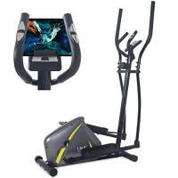 ISE Bicicletta Ellittica Magnetico,Crosstrainer Cardio Fitness Multifunzione, Ergometro Compatibile,8 Livelli di Resistenza, Sensore di pulsazioni, SY-9802