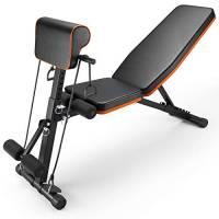 PERLECARE panca palestra, robusta panca per l'allenamento di tutto il corpo, trasportare fino a 350 kg, panca piana pieghevole con 7 posizioni per la schiena, 7 altezze, due cinghie di allenamento