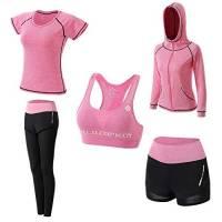 Abbigliamento Sportivo da Donna, T-Shirt 5set Suit per Sport Yoga Ginnastica Sport Include Manica Lunga e Corta, Pantaloni, Reggiseno, Morbido e Traspirante Confortevole (Rosa, XL)