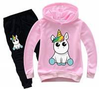 Silver Basic Felpa con Cappuccio e Pantaloni Stampa Unicorno Tute da Ginnastica per Bambini e Ragazze,Rosa Unicorno Siediti-1,160