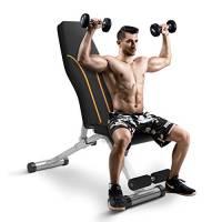 Panca da allenamento regolabile per la casa, palestra, pieghevole, multiuso, per allenamento di forza, piatto/inclinazione/declino per allenamento completo (grigio-arancione)