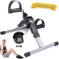 AGM - Mini cyclette per esercizi di braccia e gambe, con monitor LCD e resistenza regolabile, per allenamenti di resistenza a casa (con pedali pieghevoli)