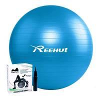 REEHUT Palla da Ginnastica Resistente Fino a 498kg Anti-Scoppio con Pompa per Fitness, Allenamento, Yoga e Pilates - 75CM, Blu