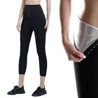 Pantaloni Dimagranti Delle Donna Pantalonidi Peso di Perdita Sauna Leggings Fitness Vita Alta Thermo Pantaloni Sportivi Anticellulite Yoga Sudore Termici Per Sudorazione Shaper Pantaloni (L/XL)