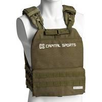 Capital Sports Battlevest 2.0 - Gilet Zavorrato, Comfort Elevato Grazie all'Imbottitura, Ottima Suddivisione del Peso, Cavo Quick-Release, 4 Pesi: 2 x 5.75 lbs & 2 x 8.75 lbs, Verde Oliva