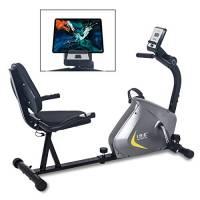 ISE Cyclette Orizzontale con Sella Regolabil, Recumbent Ergometro Ideale per Allenamento di Recupero, Sensori di Pulsazione, Supersilenzioso, SY-6802 Grigio