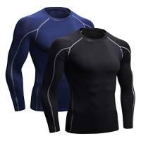 Niksa 2 Pezzi Fitness T-Shirt Maglia Manica Lunga Compressione Uomo Maniche Corte Asciugatura Rapida Maglia da Sport per Corsa, Palestra 1059 (Medium(Fit Chest 35.5-37.5)Nero Grigio+Marina)