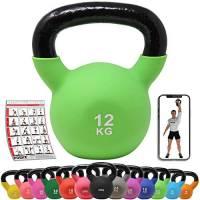 POWRX Kettlebell ghisa 12 kg - Ideale per Esercizi di »Functional Fitness« - Rivestimento in Neoprene & Presa Antiscivolo + PDF Workout (Verde Chiaro)