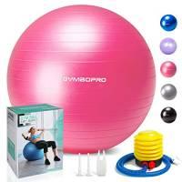 GYMBOPRO Palla da Ginnastica/Palla Fitness,Yoga Palla Equilibrio per Fitness Pilates Palestra di Yoga(65 cm,Rosa)