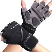 Grebarley Fitness Gloves Sollevamento Pesi, Protezione Totale del Palmo, Guanti da Allenamento Traspiranti per Uomo e Donna (Nero, L)