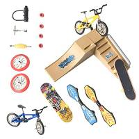 solawill Finger Bike, Mini Finger Toy Set Mini Set di Giocattoli per le Dita Set mini skateboard con mini dita Finger Bike Scooter Finger Vitality Board Kit per skate park essere trasportati ovunque