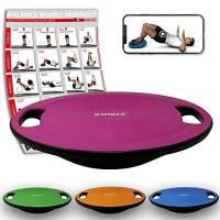 POWRX - Balance Board Perfetto per Esercizi di propriocettività, Fisioterapia e Fitness in Generale - Diametro: 40 cm (Rosa Scuro)