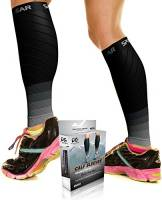 Physix Gear Sport Fasce a Compressione Graduata per Polpaccio (20-30 mmHg) - Calze Running, Ciclismo, Crossfit, Calcio, Corsa - Scaldamuscoli Uomo e Donna per circolazione, Gravidanza NER/GR S/M-M/L