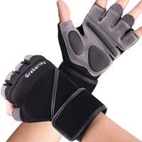 Grebarley Fitness Gloves Sollevamento Pesi, Protezione Totale del Palmo, Guanti da Allenamento Traspiranti per Uomo e Donna (Nero, XL)