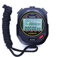 PULIVIA - Cronometro digitale con display a tre file, cronometro portatile, cronometro con 10 lap memory split tempo per atleti e arbitri allenatori